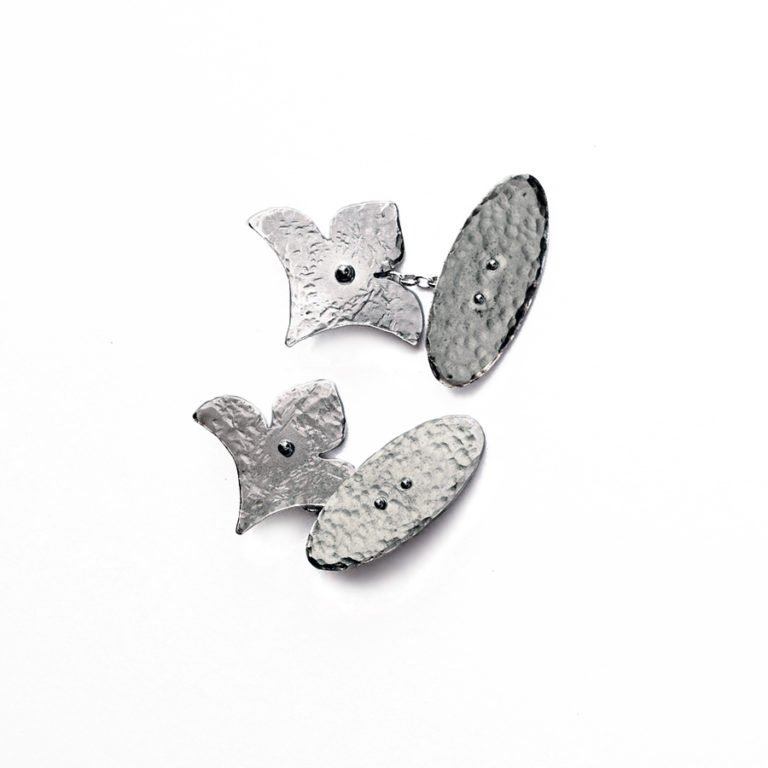 lily shaped silver cufflinks