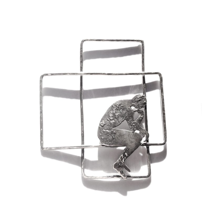riflessioni the thinker silver body necklace