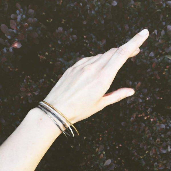 almost colored silver bangles