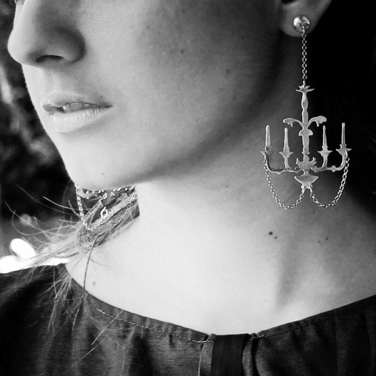 chandelier earrings close up