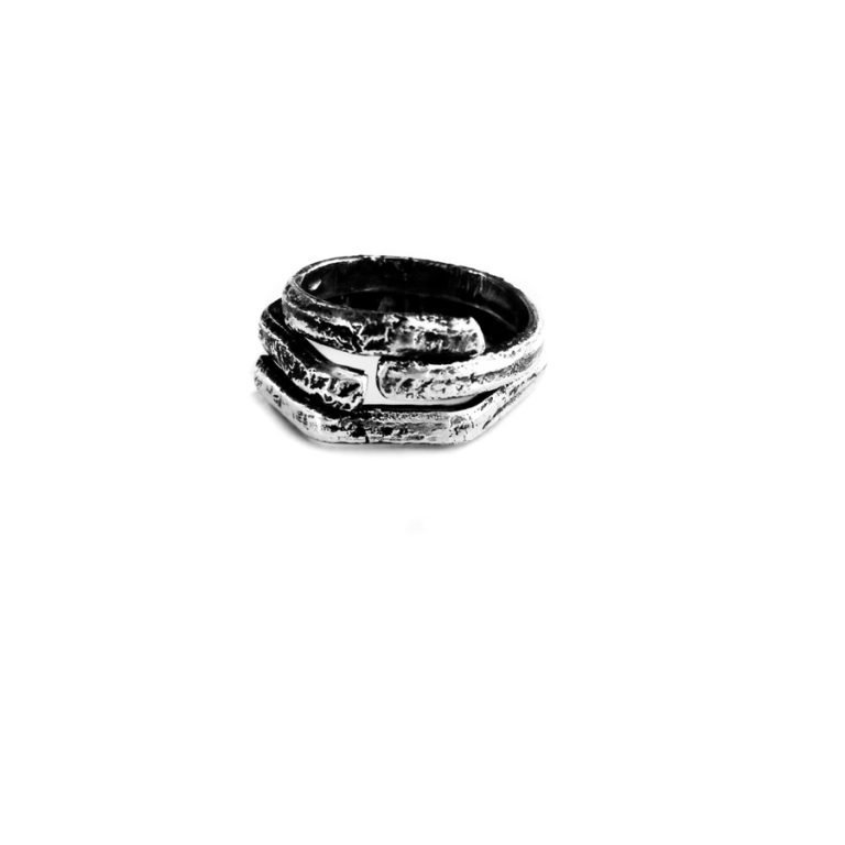 double silver adjustable ring