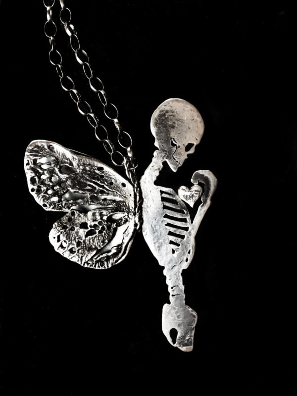 eternal silver skeleton necklace