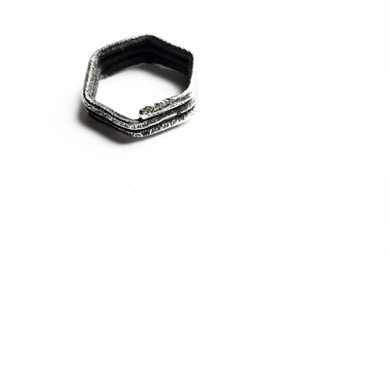 hexagonal whirl silver ring