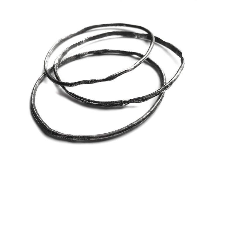 three free silver bangles