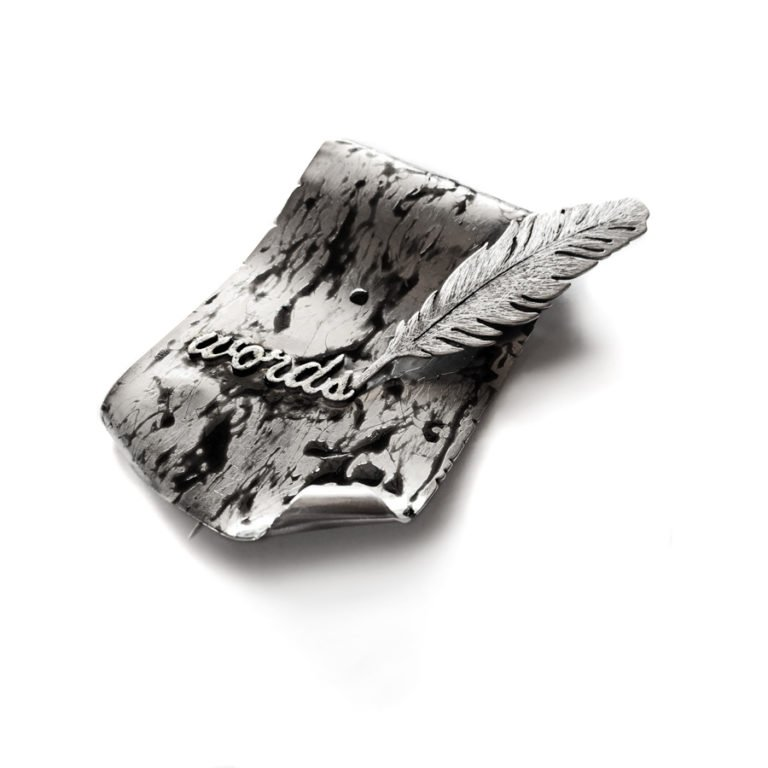 blah blah drops silver brooch