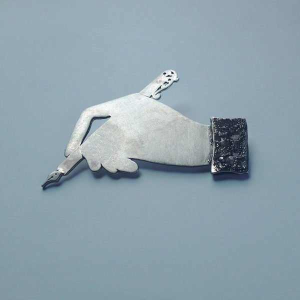 end hand writing silver brooch
