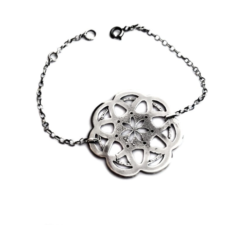 custom made silver mandala bracelet