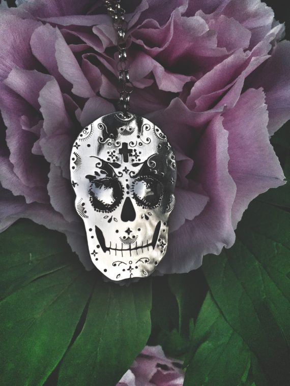 sugarskull leaves and crosses necklace